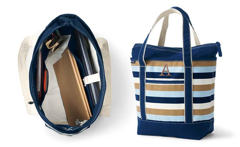 Large linen canvas shopper bag Market bag blue with orange straps Beach Bag