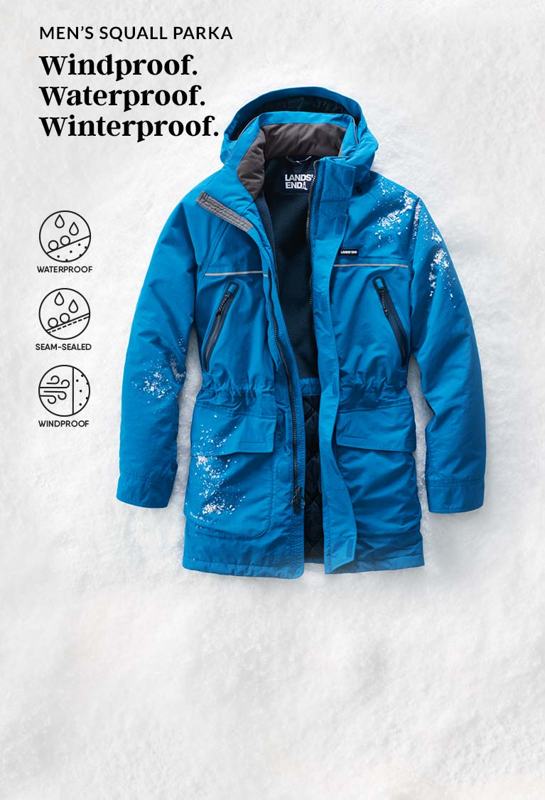 """NWT Lands End Women/'s /""""Weather Channel/"""" Hooded Squall Parka in L//P XL//P 1X//T"""